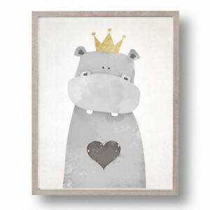 Adorable Cartoon Animal Canvas Print (Multiple Sizes) - Hippo with Crown
