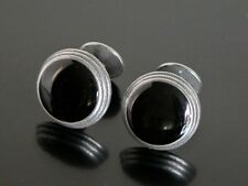 Silver Tone Hipster Holiday Stunning Black Onyx Modernist Cufflinks