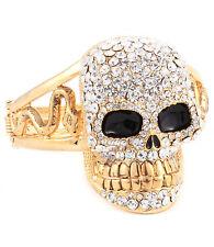 """GLAM Statement Gold  HUGE 2 1/4"""" SKULL SKELETON Bangle Bracelet  Rocks Boutique"""