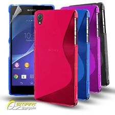S Curve Gel Case For Sony Xperia Z2 + Screen Guard TPU Jelly Soft Cover