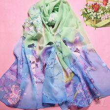 Pretty Women's Fashion Long Soft Wrap Lady Shawl bird flower Chiffon Scarf