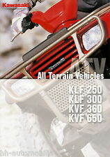 Prospekt 2002 Kawasaki ATV KLF 250 300 KVF 360 650 8 02 brochure japón moto