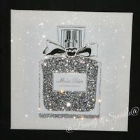 """""""Miss"""" Perfume with Glitter & crystals. Framed or Canvas! Any Size :)"""