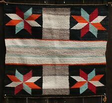 "Vintage Navajo Indian Single Saddle Blanket Lg Cross Valero Stars  31"" x 28.5"""