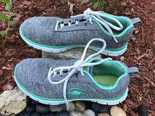 Skechers Light Weight Memory Foam Gray with mint green trim Shoes Women's 8