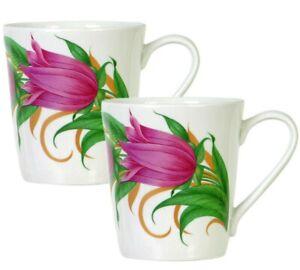 Bellflowers Porcelain Mug SET OF 2, Floral Pattern, by Dobrush Belarus 300 ml ea