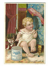 Old Trade Card New York Condensed Milk Gail Borden Eagle Brand Baby Cat