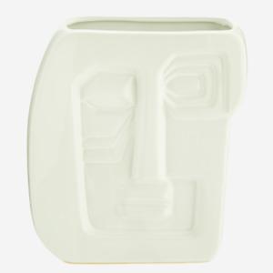 White Picasso Face Vase, Retro Head Design Flower Pot Planter Glazed Ceramic