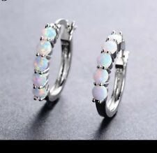 925 Sterling Silver White Fire Natural Opal Round Hoop Pair Earrings 5 Stone
