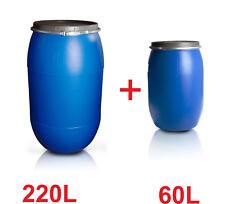 Set Fässer Kunststofffässer 220L & 60 Lebensmittelfass Getränkefass Tonne 2 Fass