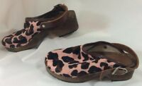 Hanna Andersson Girls Shoes 32 Pink Brown Animal Print Mule Strap Size 1