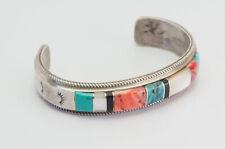 cuff bracelet Franck Louise Yazzie Heavy vintage sterling silver inlaid gemstone
