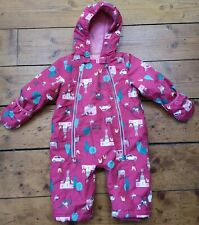 Baby Girl Joules Snowsuit 6-9 Months Pink Horses Fleece Lined