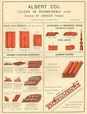 MABLY TUILERIE ALBERT COL ST-ROMAIN-DES-ILES TUILES GENAIRON PUBLICITE 1924