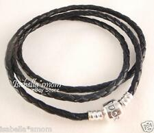 "NEW Authentic PANDORA Charms BLACK Leather/Silver TRIPLE BRACELET 20.7""~52.5cm"