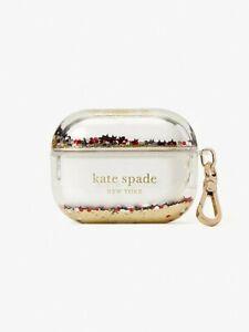 NWT Kate Spade Liquid AirPod Pro Case Clear & Gold Glitter