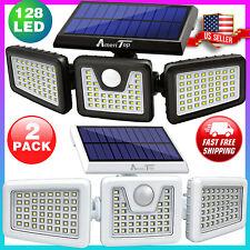2 Pack Solar Lights Security Outdoor 800Lm 128 Led Motion Sensor Ip65 Waterproof