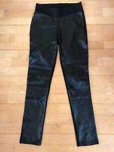 Sexy Leggings Stretch Damen Hose mit Leder Optik vorne Schwarz Wetlook Leggins L