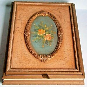 1930's-40's Jewelry Box with Hand Painted flowers on Lid