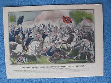 Currier & Ives Civil War Lithograph - Battle of Opequan Creek or Winchester 1864