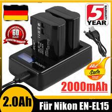 2X 2800mAh EN-EL15 Akku + Dual Ladegerät für Nikon D600 D800 D750 D7000 D7200 XM