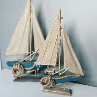 Wooden Distressed Sail Boat with Rope Detail Nautical Ornament