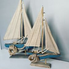 More details for wooden distressed sail boat with rope detail nautical ornament