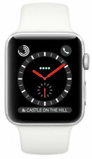 Apple Watch Series 3 42mm Stainless Steel Case with Soft White Sport Band (GPS + Cellular) - (MQLY2B/A)