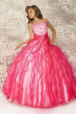 Flower Girls Dresses Kids Pageant Hot Pink Party Wedding Princess Ball Gown