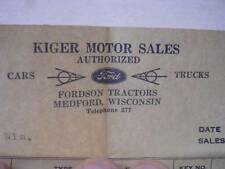 Receipt from Kiger Ford Sales Medford WI for Brand New 1939 Ford Truck $666.00