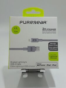 PureGear Braided Metallic Charge-Sync Cable for Apple Lightning devices - Space