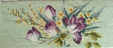 Vintage 1960 Tulips and Forsythia Needlepoint Completed Unframed