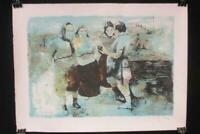 Pen And Ink Print Women Harvesters Signed Four Women Blue No Frame