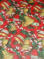 "VTG CHRISTMAS WRAPPING PAPER GIFT WRAP 1960 RED GOLD BELLS HOLLY NOS 20"" X 26"""