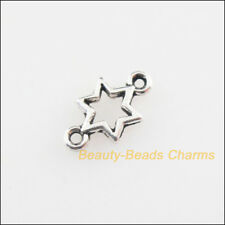 100 New Connectors Tiny Star Tibetan Silver Tone Charms 5.5x10mm