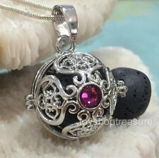 Rhinestone Ruby Red Crystal Aromatherapy diffuser Necklace Essential Oil Lava