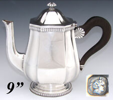 """Antique French Sterling Silver 9"""" Coffee or Tea Pot, Teapot, Seashell Accents"""