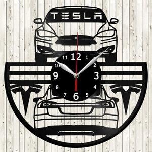 Tesla Model S Vinyl Record Wall Clock Decor Handmade 5896