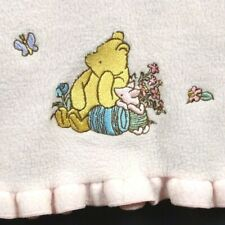 CLASSIC POOH Disney Blanket Vtg Embroidered Winnie Piglet Pink Ruffles Fleece