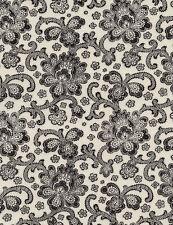 Fabric 100% Cotton Timeless Bone black/white floral C4787