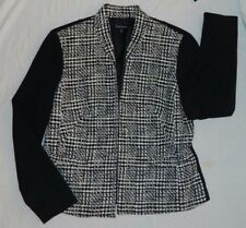 New Evan-Picone Womens Jacket $119 Lined Black White Houndstooth Spring Career 8