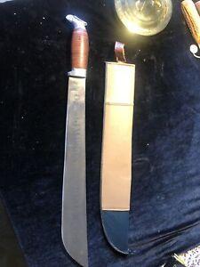 "Vintage OJ Simpson Machete Knife Special Edition Leather Handle With Sheath 23"""