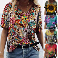 Summer Women Short Sleeve V Neck T Shirt Casual Floral Printed Blouse Loose Tops