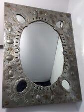 "Vintage Aluminum Framed Mirror Wood Frame 25"" X 19"" Mexico FoundArtShop.com"