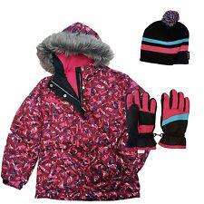 Girls Zeroxposur R-Way Ski Jacket Pink Winter Coat, Gloves, & Hat Set X-Small 4