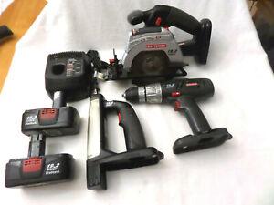 Craftsman C3 19.2v 3 Pc Combo Set, Circular Saw, 1/2 Drill, Flashlight Batteries