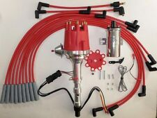 CADILLAC 472 500 Small Cap HEI Distributor +Chrome 45K Coil+RED Spark Plug Wires
