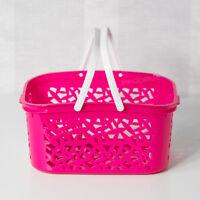 2 x Pink Plastic Storage Baskets with Handles Kitchen Bathroom Playroom Bedroom