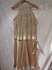 ANNE KLEIN Metallic Taupe Silk Lace Dress Size 12 Wedding Formal Occasion