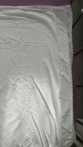 💕 White  cotton,Embroidered, kingsize  Duvet cover , Good Con 💕